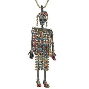 Betsey Johnson Rainbow Skeleton Pendant Necklace
